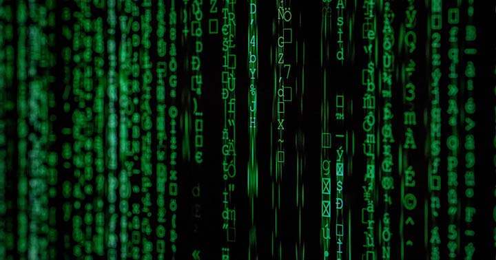 Green coloured coding symbolising online threats