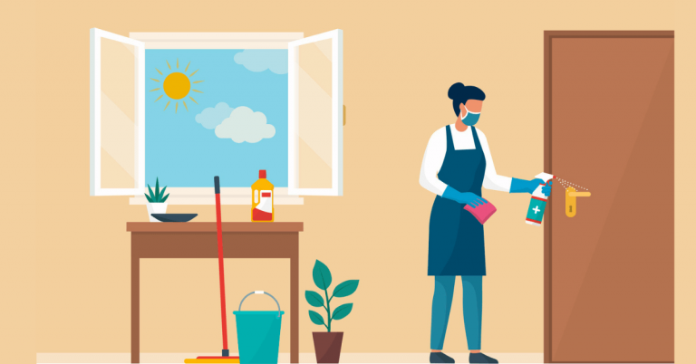 A foreign domestic helper cleaning the house